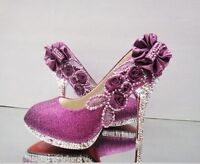 New Purple beautiful Vogue lace Flowers Crystal High Heels Wedding Bridal Shoes