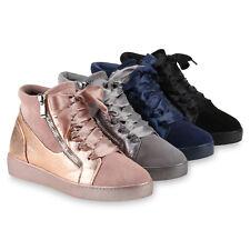 Damen Sneakers Sneaker-Wedges Zipper Satinoptik Freizeitschuhe 818277 Schuhe