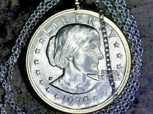 UNITED STATES 1979  'P'  BEZELED SBA UNC DOLLAR WITH SILVER CHAIN