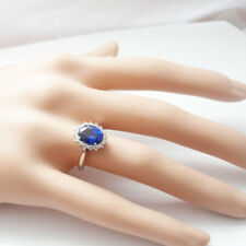 Real Diamond 3.48 Ct Oval Blue Sapphire Gemstone Rings Solid 14K White Gold