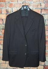 Herren 44 R Canali Marineblau Wolle Nadelstreifen Klassisch für Anzug Bundfalten