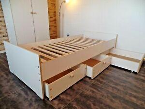 Bettgestell Kinderbett Jugendbett Kojenbett Funktionsbett Einzelbett 100x200Weiß