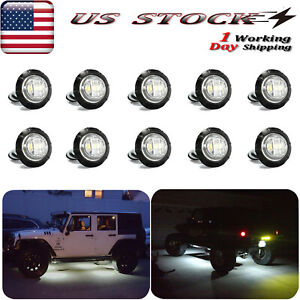 10x Round LED Rock Lights For Jeep Offroad Truck ATV Underbody White Fog Light