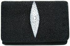 Genuine Stingray Leather Ladies' Tri-Fold Wallet, Black (02-133)