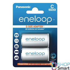 2 ENELOOP BATTERY ADAPTER AA R6 TO C R14 SIZE CONVERTER SPACER CASE NEW