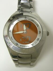 RARE MEN'S FOSSIL BG2055 CHINESE ASIAN KANJI ANALOG/DIGITAL ORANGE WATCH -PREOWN