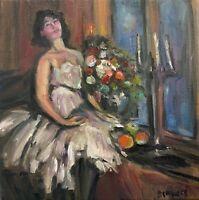 Original Oil painting art 6x6 inch square canvas Impressionism female figure