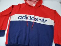Vintage 80's Adidas Hoodie Spellout Trefoil Hip Hop Color Block Small Red White
