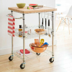 Trinity EcoStorage Bamboo Top Kitchen Cart with Detachable Board Trolley Wheels