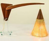 Alte Temde Ausleger Wand Leuchte Teakholz Kokosfaser Lampe 50er 60er Jahre