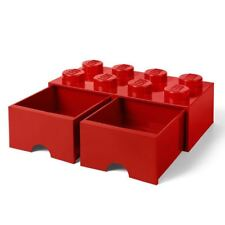 OFFICIAL LEGO BRICK STORAGE TOY BOX 8 WITH 2 DRAWERS RED CHILDRENS