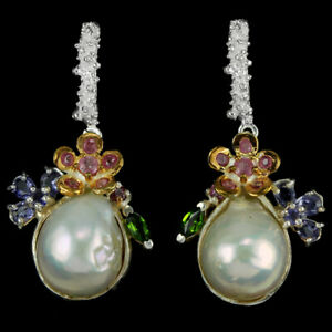 REAL BAROQUE PEARL IOLITE CHROME DIOPSIDE RHODOLITE STERLING 925 SILVER EARRING
