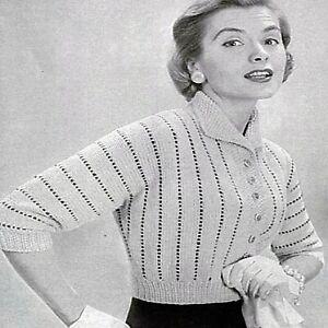 Vintage Knitting patterns Ladies 1950s Cardigan Aran Size 12-16 Womens