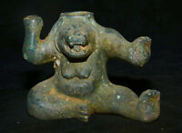 """4 """"vieux bronze chinois Ware Western Zhou Dynasty Palace ours noir Statue"""