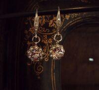 Vintage Light Amethyst Purple Crystal and Pearl Drop Hook Pierced Earrings