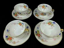 Set of 4 Limoges France Theodore Haviland Jewel Cups & Saucers