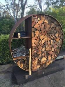 Firewood holder storage box 2000mm Corten Steel 2m Fire Wood log Holder
