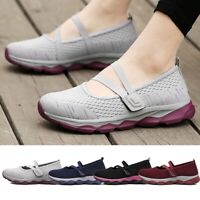 Women Breathable Soft Slip On Mary Jane Sneakers Lightweight Flat Running Shoes