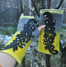 HANDMADE HAND FELTED ECO WOOL MERINO M/L MITTENS GREY YELLOW BLACK BEADED