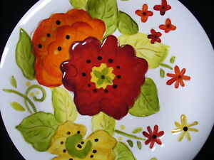 """NEW~2pc~Pier 1~GRACE~Ceramic~HAND PAINTED~Embossed~SALAD PLATES~8 3/4""""~Flowers"""