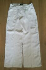Off White Linen Adjustable Cropped Cargo Utility Trousers   MODA   Size 10   L32
