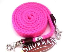 "Showman cotton/poly blend 1"" wide soft pink roping reins horse tack equine"