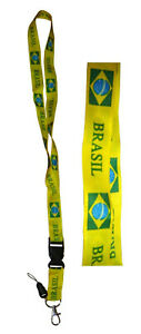 TOUR DE COU DRAPEAU BRESIL CORDON LANIERE DRAGONNE BADGE PORTE CLE USB ...