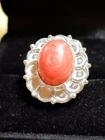 RED JASPER STERLING SILVER SF Cabochon Setting LADYS RING SIZE 6.5 US