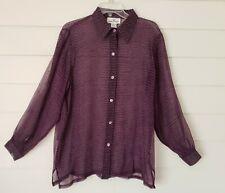 Erin London Women's Sheer Silk Blouse Shirt Collared Long Sleeve Size M Purple
