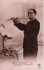 RPPC   Man playing FLUTE -- VIVE STE CECILE  postcard