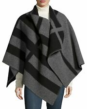 NEW $1499 Burberry Prorsum Mega Check Wool & Cashmere Blanket, Black Gray