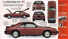 1984/1985/1986 FORD MUSTANG SVO SPEC SHEET/Brochure