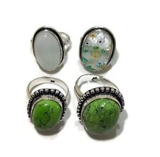 New Lot !! 4 PCs. Green Turquoise & Chalcedony 925 Silver Plated Ring Jewelry