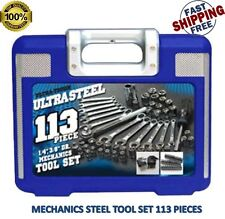 Mechanics Tool Set 113 Pc Home Garage Tools Kit Wrenches Ratchet Sockets Case