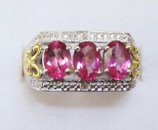 Pure Pink Mystic Topaz & Diamond Ring / size 6 / Sterling Silver