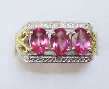 Pure Pink Mystic Topaz & Diamond Ring in Sterling Silver sz 6