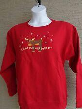 NWT Hanes  Christmas Moose Glitzy Graphic Crew Neck  Sweatshirt XXL Red
