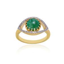 14K Yellow Gold Emerald Gemstone Wedding Ring Diamond Pave Anniversary Jewelry