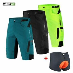 WOSAWE Men Padded Baggy Cycling Shorts Reflective MTB Mountain Bike Bicycle Ridi