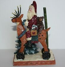 "Christmas Santa Riding Reindeer Figurine Ornament 6"" Tall Resin?"