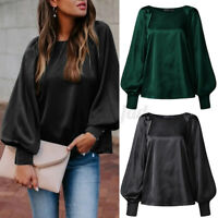 NEW Women Blouse Puff Sleeve Office O-Neck Plain Shirt Tops Basic Button Elegant