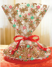 6 x Gingerbread Man DESIGN CLEAR Cellophane Violoncelle Panier Sacs Emballage Wraps