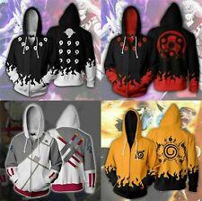 Unisex 3D Hooded Coat Jacket Zipper Sweatshirts Cosplay NARUTO Costumes Hoodies