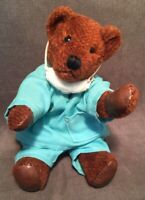 "10"" Muriel Townsend 1986 OOAK Doctor Bearly Jointed Teddy Bear Leather Paws"