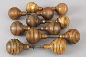 12 ANTIQUE Victorian Large Solid Bronze Beehive Door Hardware Doorknobs