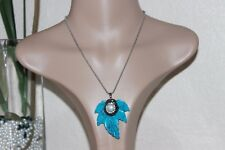 Unique & rare Leaf Turquoise & freshwater pearl pendant w/ stainless necklace