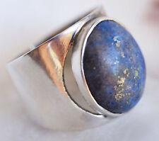 Silberring Lapis Lazuli Handarbeit Blau Gold Silber Ring 55 Schlicht Elegant