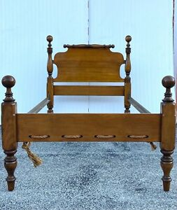 Vintage Wooden Cannonball Twin Bed