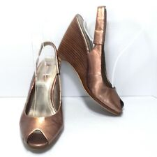 Women's NINE WEST Metallic Copper Peep Toe Slingback Wedge Heel Pumps Size 6.5 M
