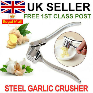 Heavy Duty Stainless Steel Garlic Squeezer Press Crusher Removable Kitchen Tool
